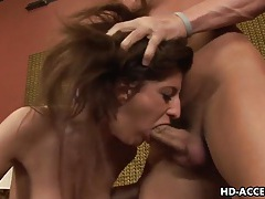 Enticing brunette italia christie endures rough mouth fucking tubes