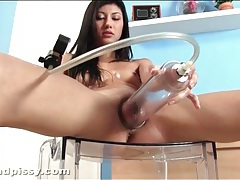 Teen pisses hard all over her chair tubes