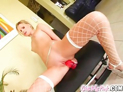Dildo fucking blonde stuffs panties in her holes tubes