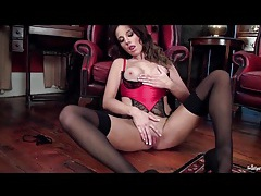 Red and black lingerie is hot on jemma perry tubes
