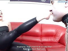 Licking feet of his sexy leather mistress tubes