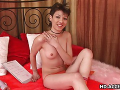 Delicate bimbo rene screws herself with a dildo tubes