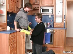 Gloved handjob and cocksucking in kitchen tubes