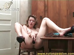 Dildo wrapped in pantyhose fucks hot chick tubes