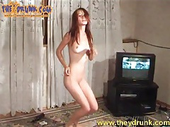 Skinny naked girl is incredibly drunk and smoking tubes