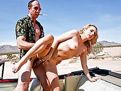 Blond slut fucks on desert road tubes