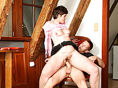 Hairy old cunt rides his cock tubes