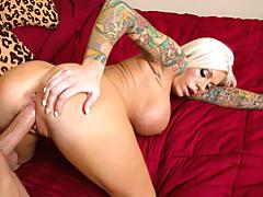 Tattooed babe with big tits railed tubes