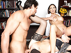 Office threesome during presentation tubes