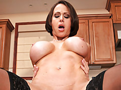 Busty housewife banged in kitchen tubes