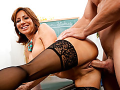 Ramming teacher pussy from behind tubes