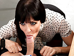 Office babe in blouse blows him tubes