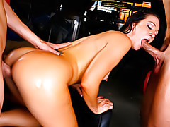 Race garage foursome with sluts tubes