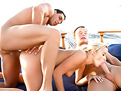 Threesome on a boat tubes