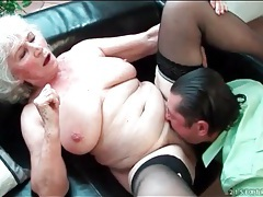 Granny with big boobs gives a blowjob tubes