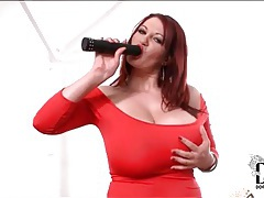 Skintight red dress on big tits redhead tubes