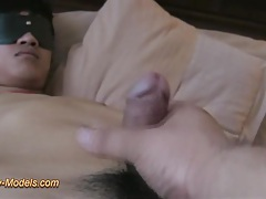 Blindfold asian twink boy bound cum tubes