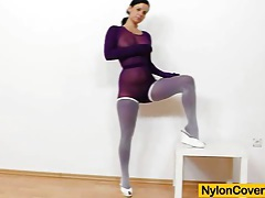 Riding a dildo in pantyhose tubes