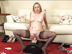 Big titty blonde in stockings rides sybian tubes