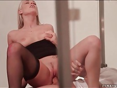 Cumshot on feet and stockings of blonde tubes