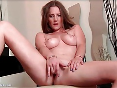 Sexy girl with nice titties fingers her pussy tubes