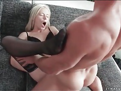 Moaning blonde beauty fucked in stockings tubes