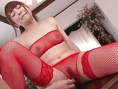 Chick in red lingerie squirts from toy sex tubes