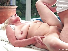 Bald old vagina fucked by his young meat tubes
