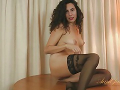 Curly hair beauty liz models black stockings tubes