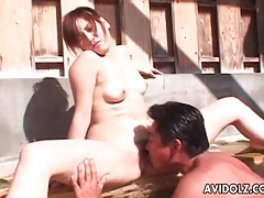 Eating japanese pussy in the pool tubes