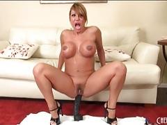 Ava devine butt fucks a huge black dildo tubes