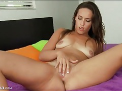 Cute chick with tan lines fingers shaved cunt tubes