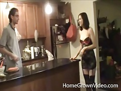 Lingerie girl seduces her man in the kitchen tubes