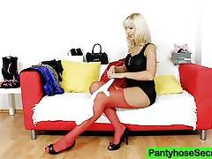 Nylon whore bella morgan sexing in panty-hose tubes