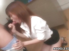 Japanese teacher blows her horny student tubes