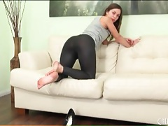 Skintight black leggings on alyssa reece tubes