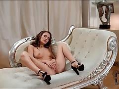 Masturbating brunette in black high heels tubes