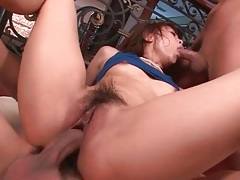 Hot creampie leaks slowly from japanese pussy tubes