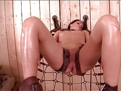 Bound sophie lynx toyed in her asshole tubes