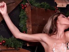 Hot wax dripped on skinny girl titties tubes