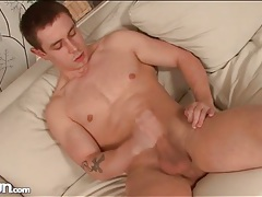 Rock hard solo guy with shaved chest strokes tubes
