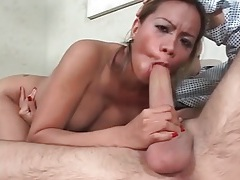 Hot slut with sexy implants sucks big boner tubes