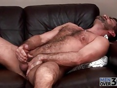 Bear masturbates and toys his asshole tubes