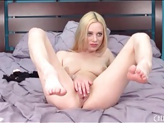 Spinning dildo pleasures naked blonde chick tubes