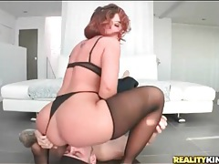 Redhead rides his face with her big ass tubes