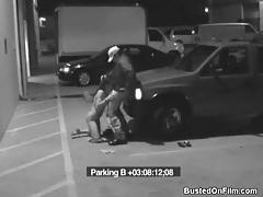 Slut sucks security guard cock in parking lot tubes