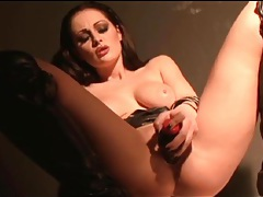 Sexy slut in black leather boots masturbates tubes
