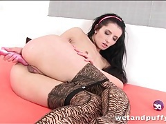 Brunette in pretty pantyhose ass fucks with toy tubes