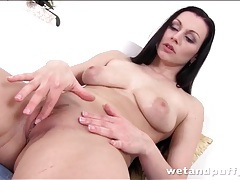 Brunette with sexy tits masturbates solo tubes