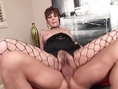 Girl in sexy fishnets fucked in hairy pussy tubes